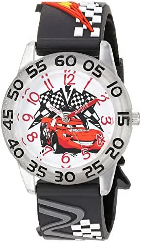 Disney Boy's 'Cars' Quartz Plastic Casual Watch, Color:Black (Model: WDS000021)
